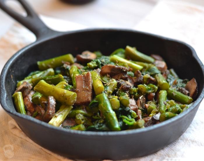 Savory Asparagus and Spinach Sauté