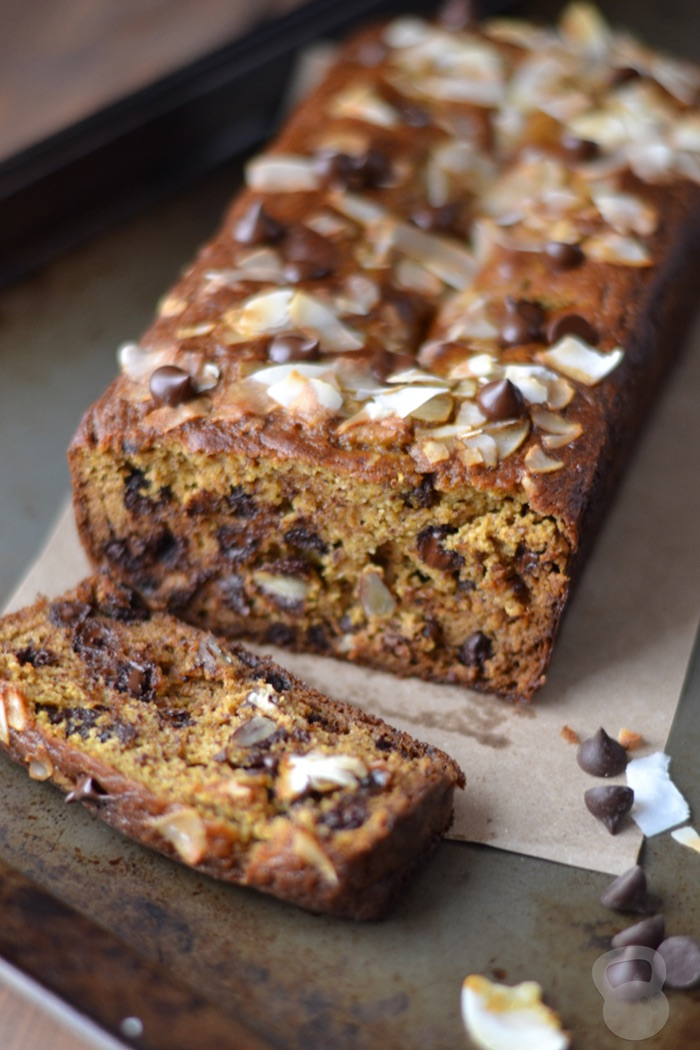 Dark Chocolate Chip Pumpkin Bread (Paleo friendly!)