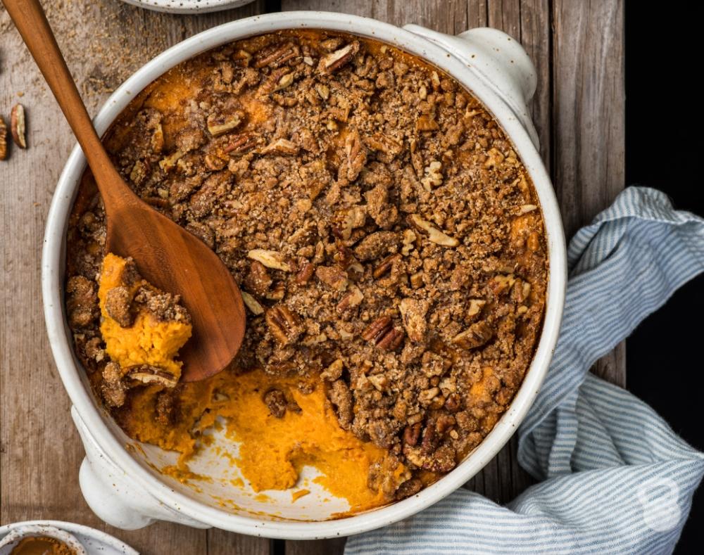 Sweet Potato Casserole (Grain-Free, Paleo, Vegan)