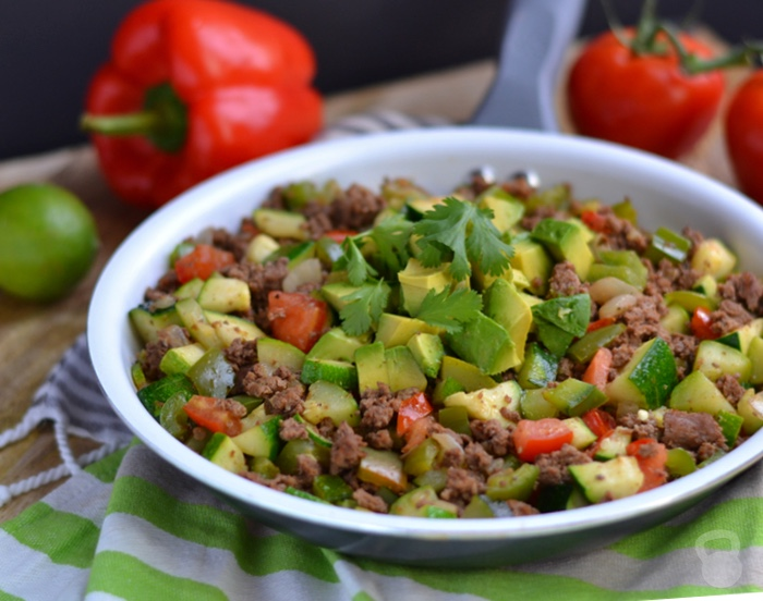 Zucchini and Beef Taco Skillet