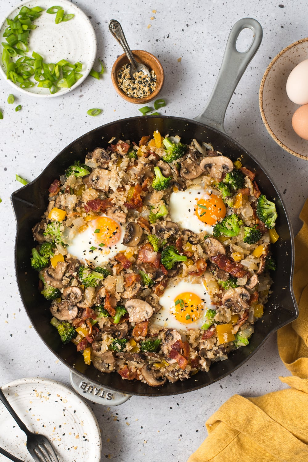 breakfast fried rice served in a skillet