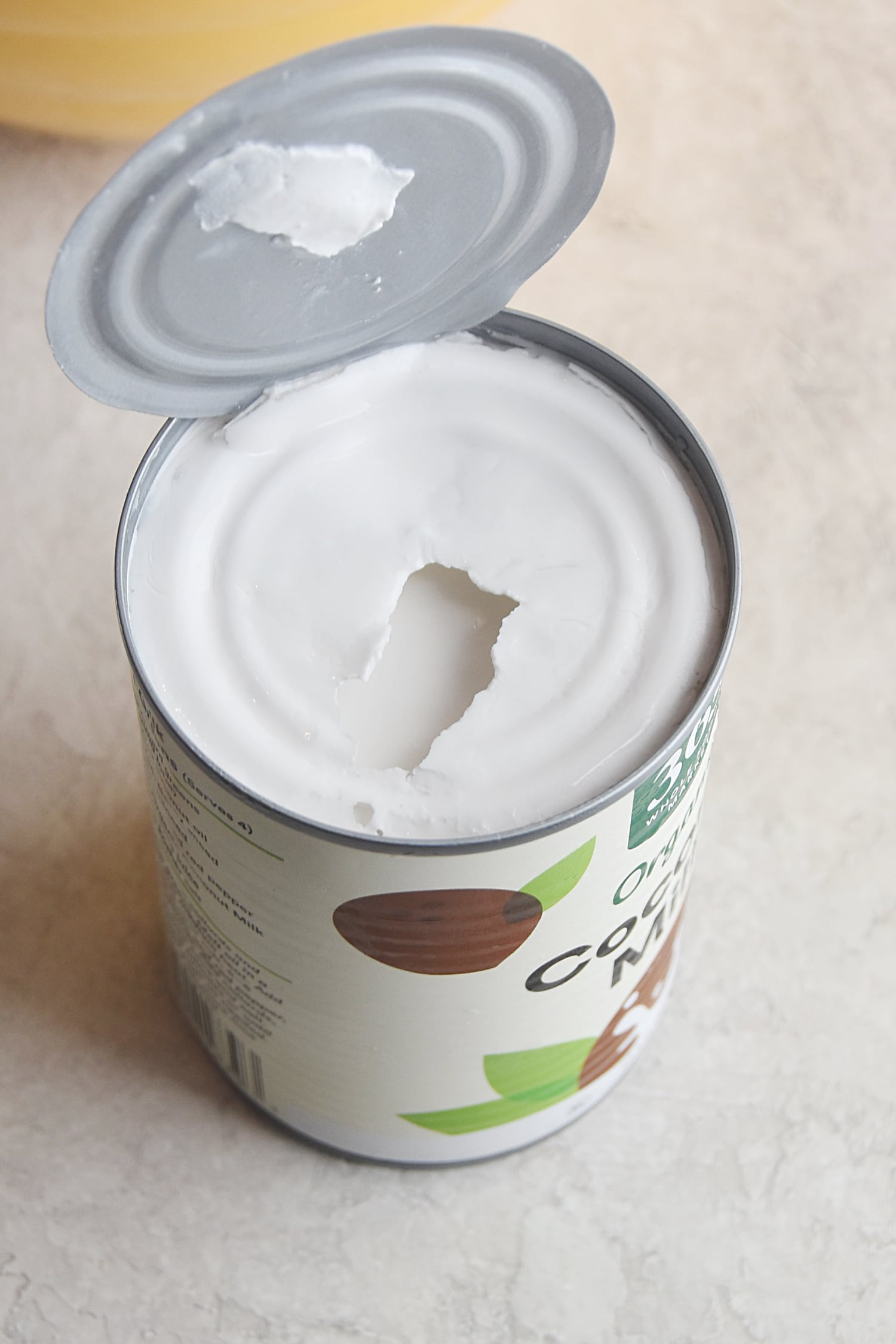 coconut cream at the top of coconut milk in the can