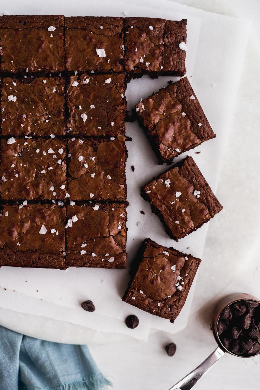 fudgy paleo brownies with a sprinkle of sea salt