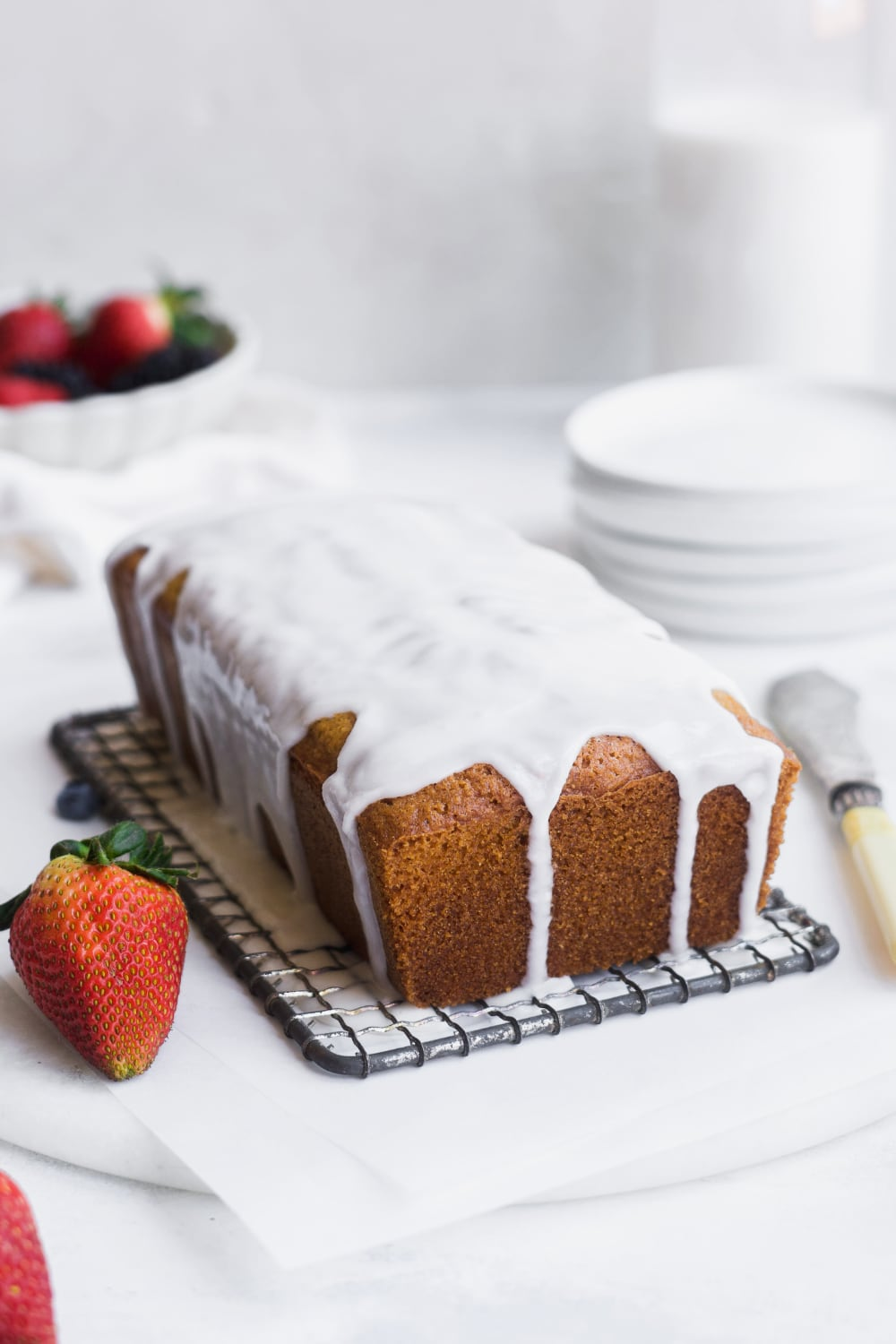 gluten free pound cake with icing hardened on top