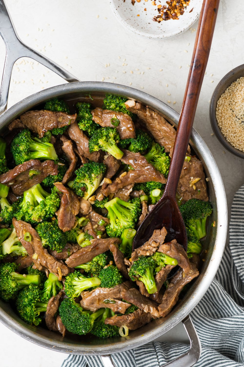 healthy beef and broccoli stir fry in the skillet