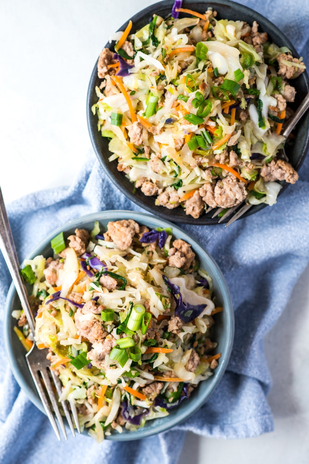 two bowls of egg roll in a bowl