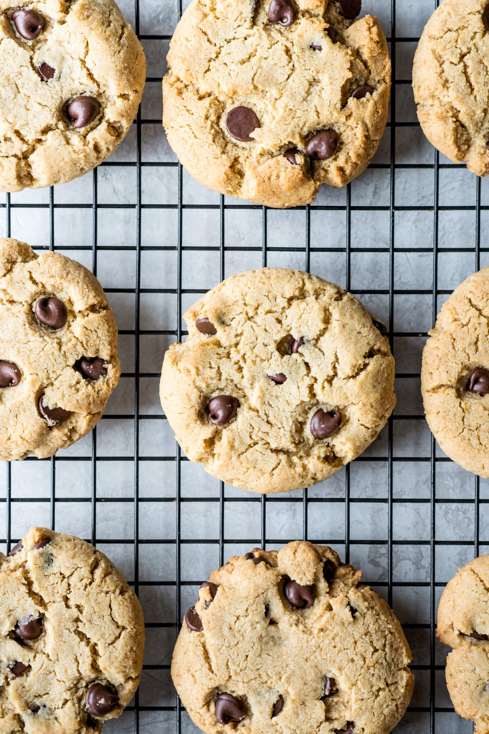 paleo chocolate chip cookies cooling on a rack