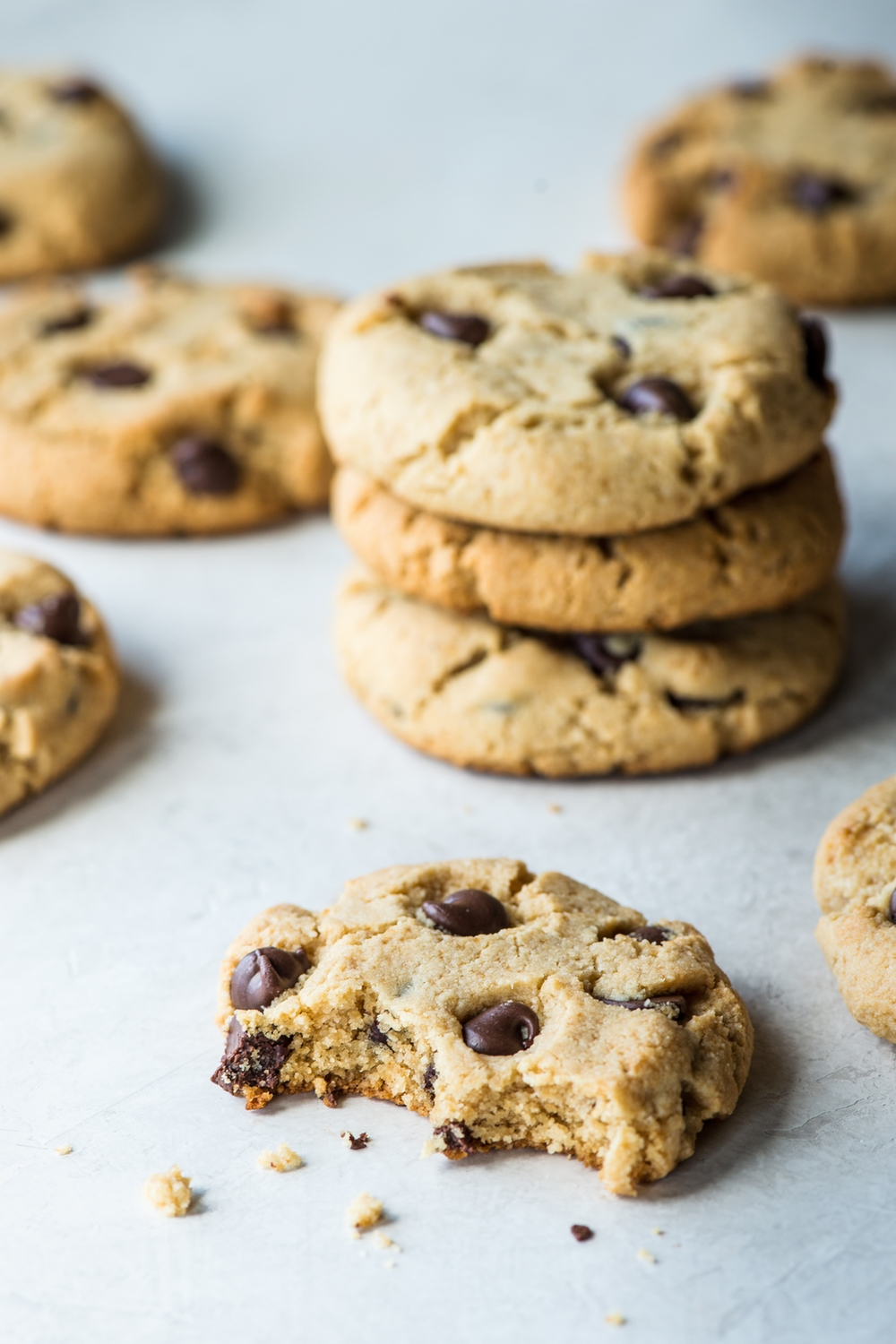 a stack of paleo chocolate chip cookies