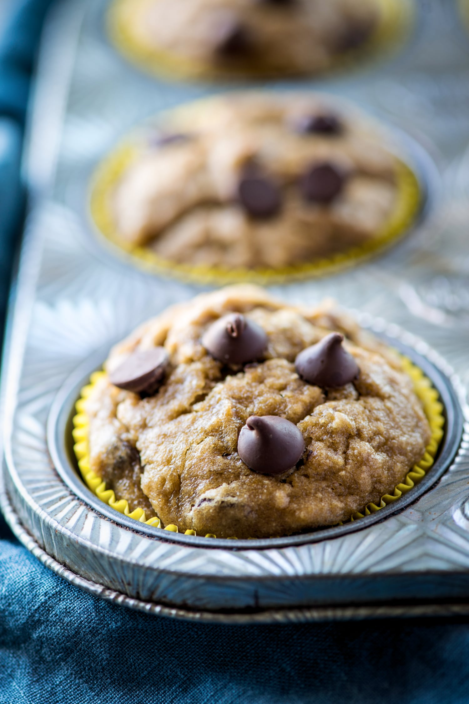 close up of banana muffin with chocolate chips