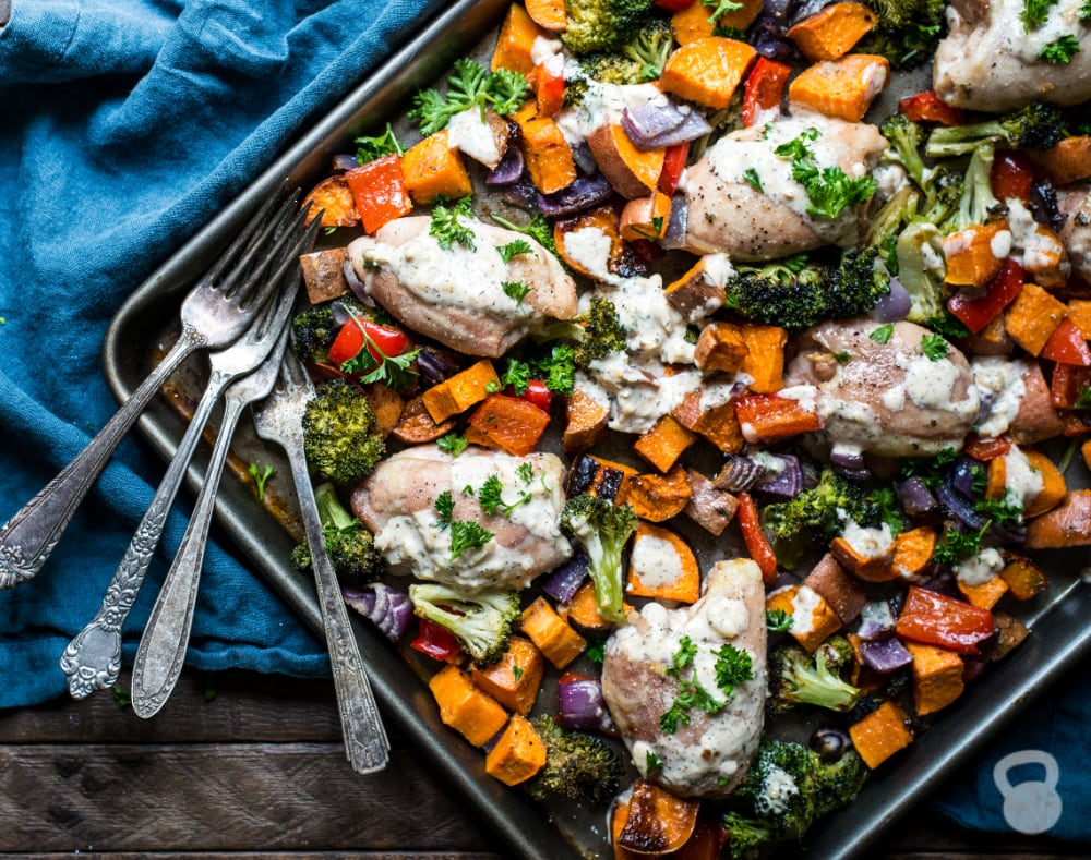 Sheet Pan Chicken, Broccoli, and Sweet Potatoes with Garlic Herb Aioli (Whole30, Paleo)