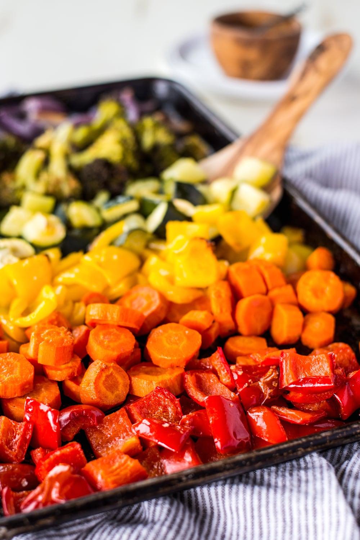 rainbow vegetables on a sheet pan