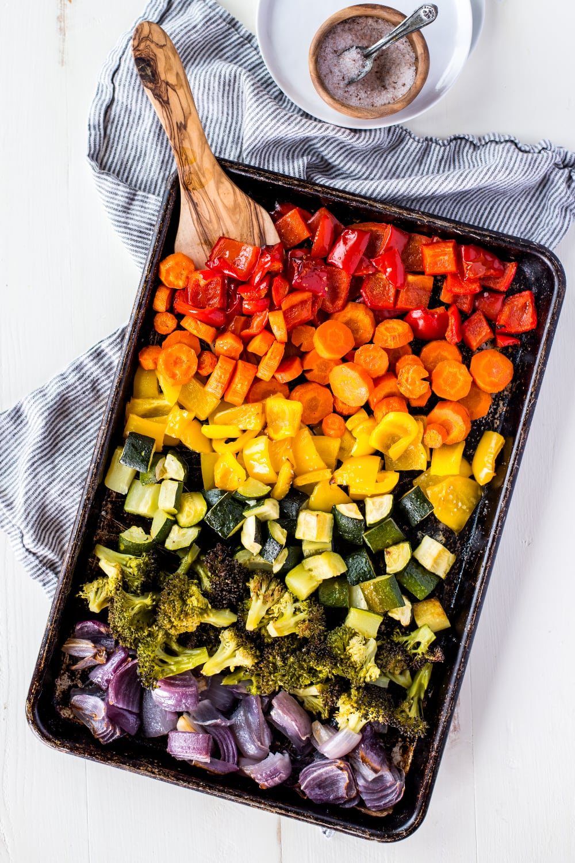 overhead shot of sheet pan roasted vegetables