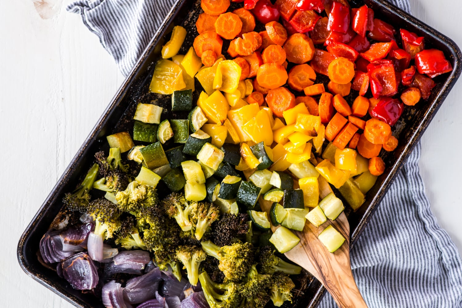 sheet pan with roasted vegetables