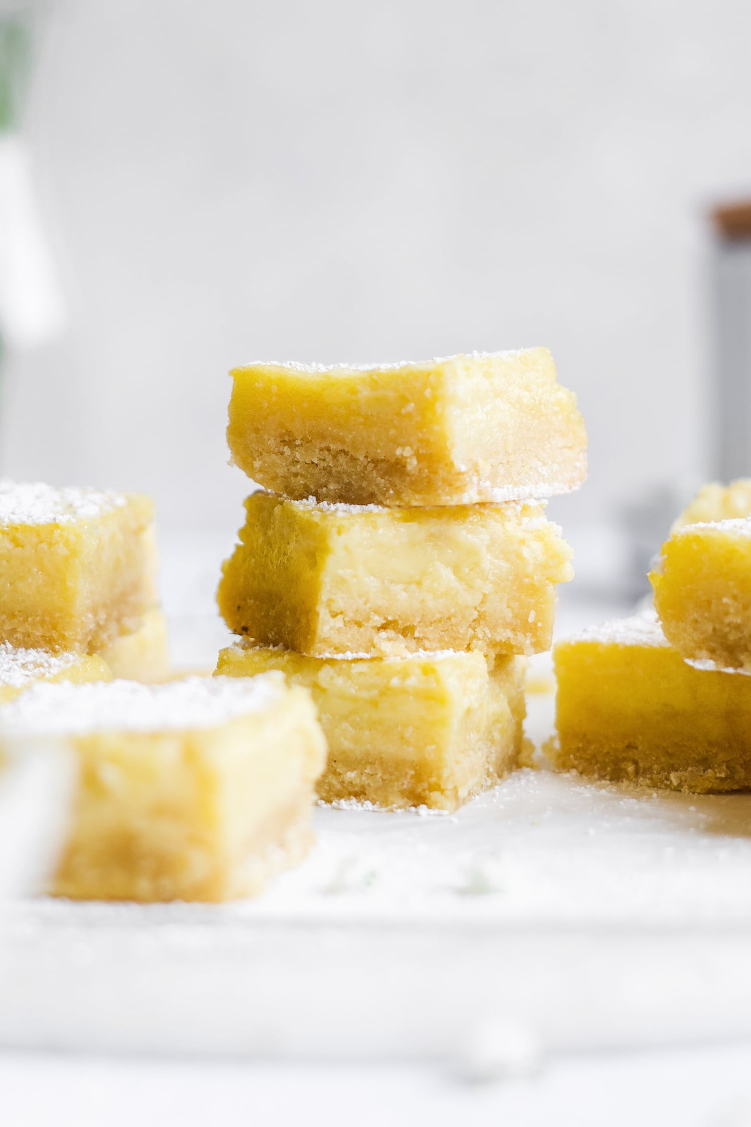 stack of healthy lemon bars