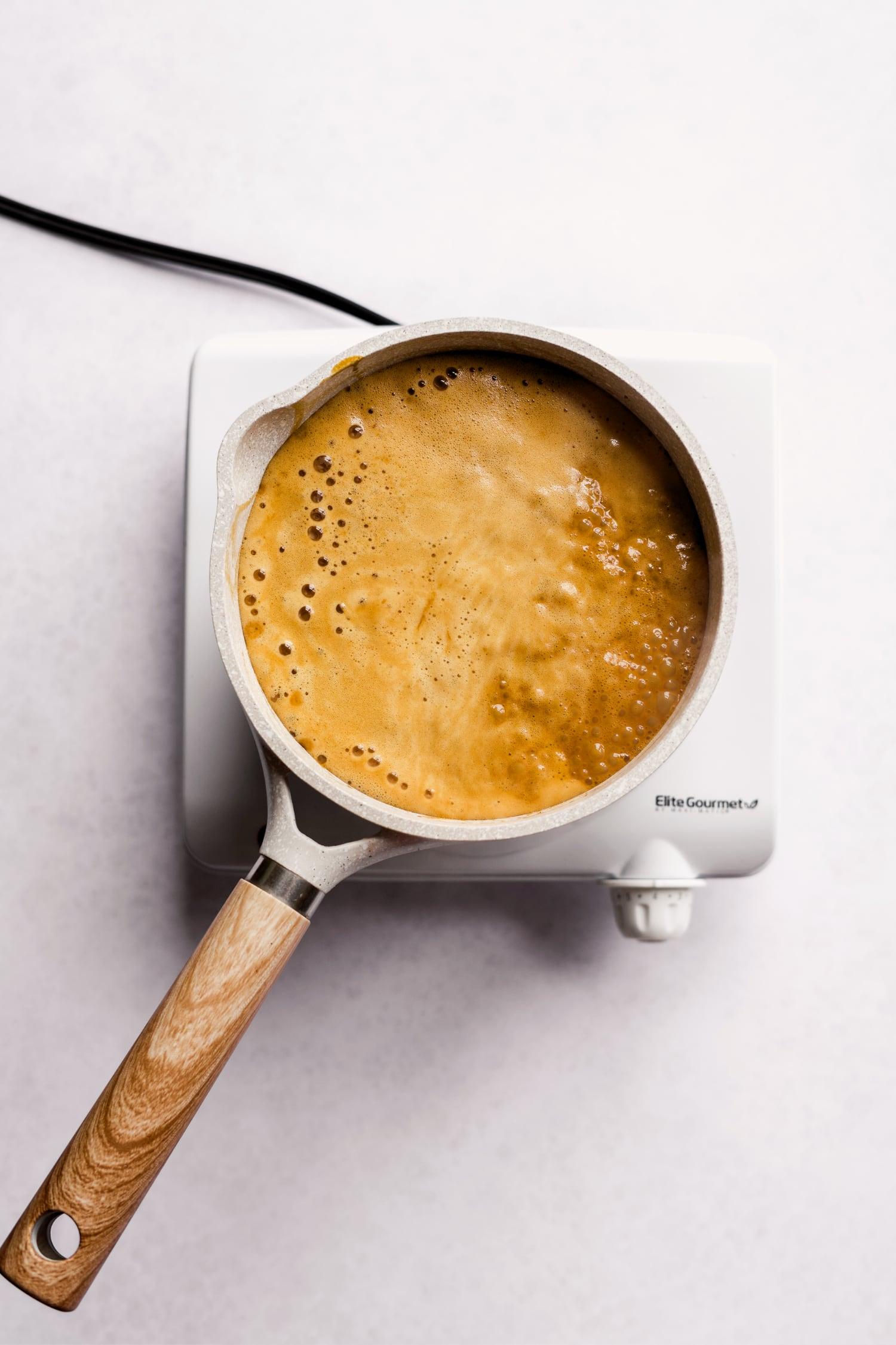vegan caramel sauce boiling in the pan