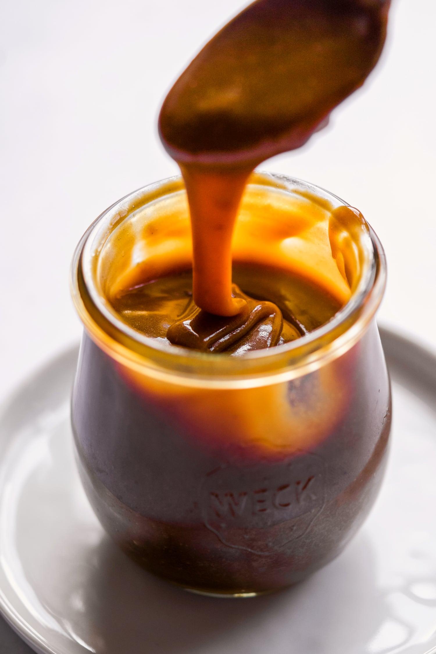 vegan caramel sauce in a jar
