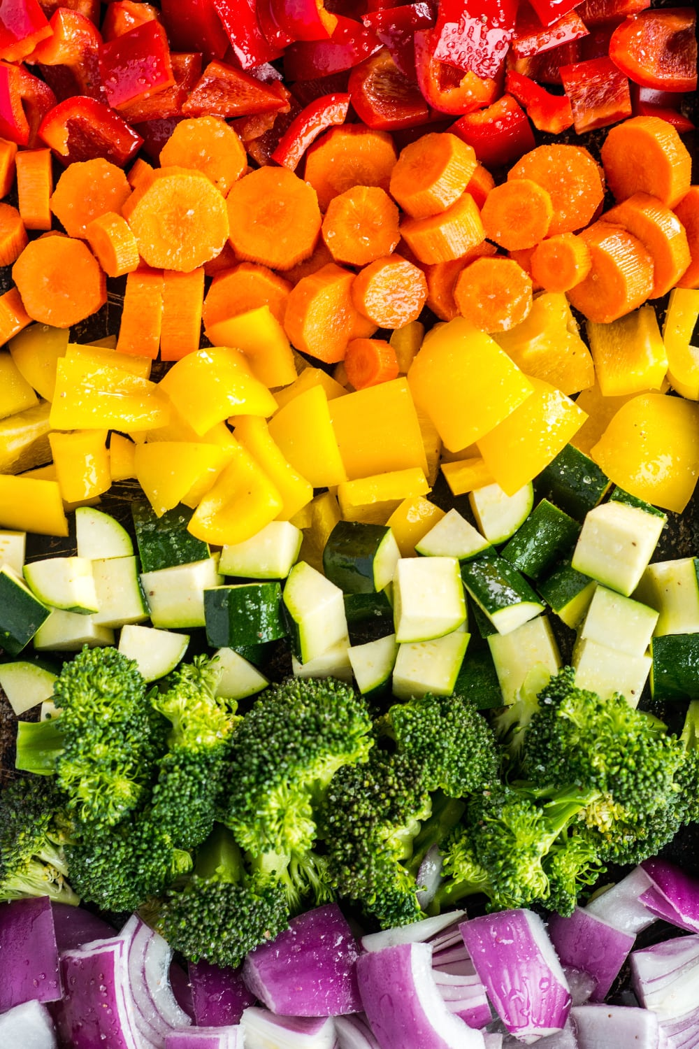 raw vegetables ready to be cooked